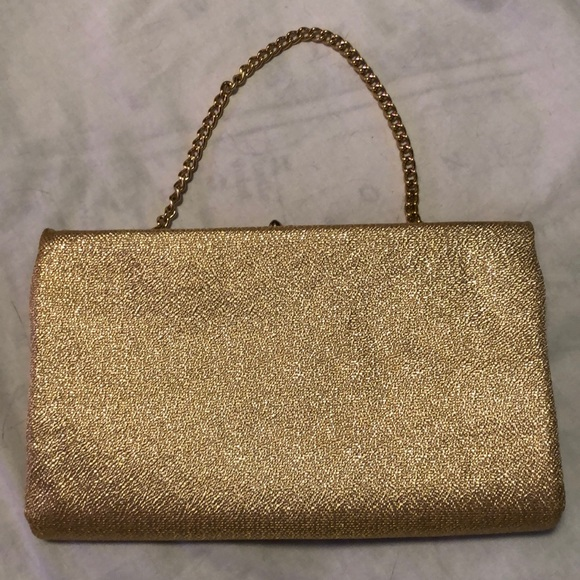 Vintage Handbags - Vintage gold clutch purse with gold chain strap